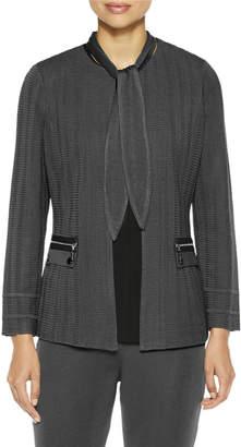 Misook Scarf-Neck Textured Knit Jacket
