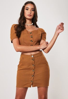 Missguided Rust Co Ord Button Through Denim Mini Skirt