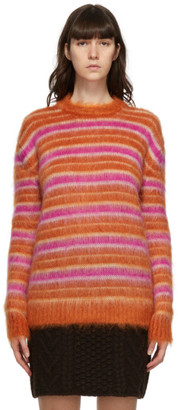 Marni Orange and Pink Mohair Striped Sweater