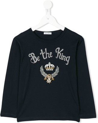 Dolce & Gabbana Kids Be The King embroidered top