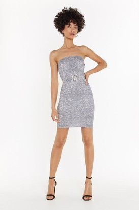 Nasty Gal Shake Your Groove Thing Glitter Strapless Dress