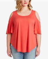 Jessica Simpson Trendy Plus Size Cold-Shoulder T-Shirt