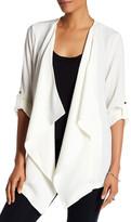 Bobeau Roll Sleeve Crepe Jacket