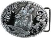 Landisun Handmade Black Wolf Howl Below the Moon Belt Buckle