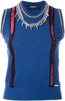 DSQUARED2 embellished suspender chain vest - women - Wool - XS