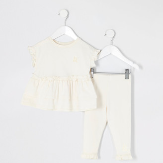 River Island Mini girls beige peplum frill T-shirt outfit