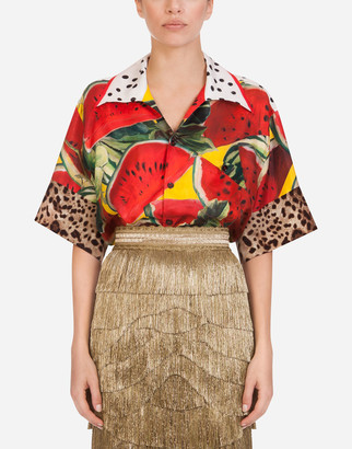 Dolce & Gabbana Oversized Short-Sleeved Shirt In Twill With Watermelon Print