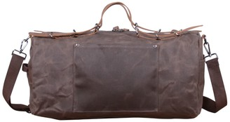 Touri Baguette Style Waxed Canvas Gym Bag In Chestnut Brown