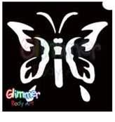 Glimmer Body Art Glitter Tattoo Stencil - Butterfly 1 5/pk