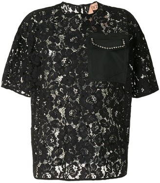 No.21 Crystal-Embellished Lace T-shirt