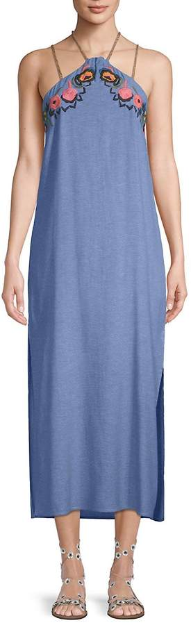 Red Carter Women's Embroidered Midi Dress