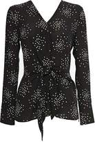 Wallis Black Tie Front Polka Dot Top