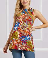 Suzanne Betro Women's Tunics 101RED - Red Floral Tie-Neck Halter Tunic - Women & Plus