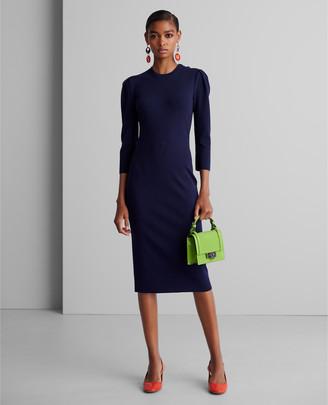 Ralph Lauren Button-Trim Stretch Wool Dress