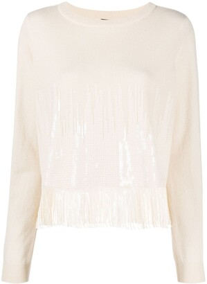 Pinko Sequinned Fringed Crew Neck Jumper