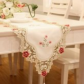 JH table runner Red flower embroidered floral yellow small chinese table runner tapestry