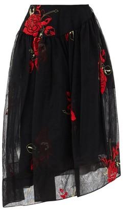 Simone Rocha Asymmetric Floral-embroidered Tulle Skirt - Black Print