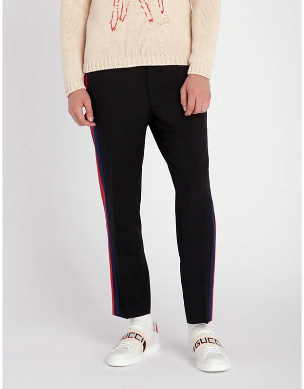 Gucci Side-stripe wool-blend jogging bottoms