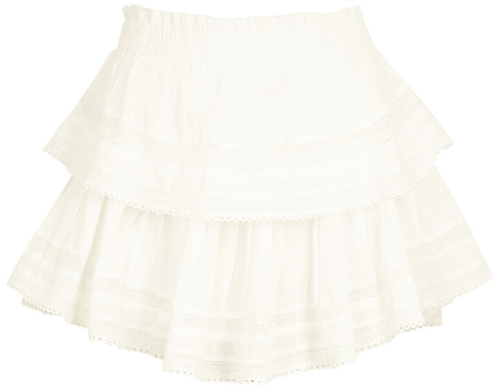 Thumbnail for your product : LoveShackFancy Ruffle white lace-trimmed cotton mini skirt