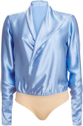 Alix Wrap-effect Silk-satin Bodysuit