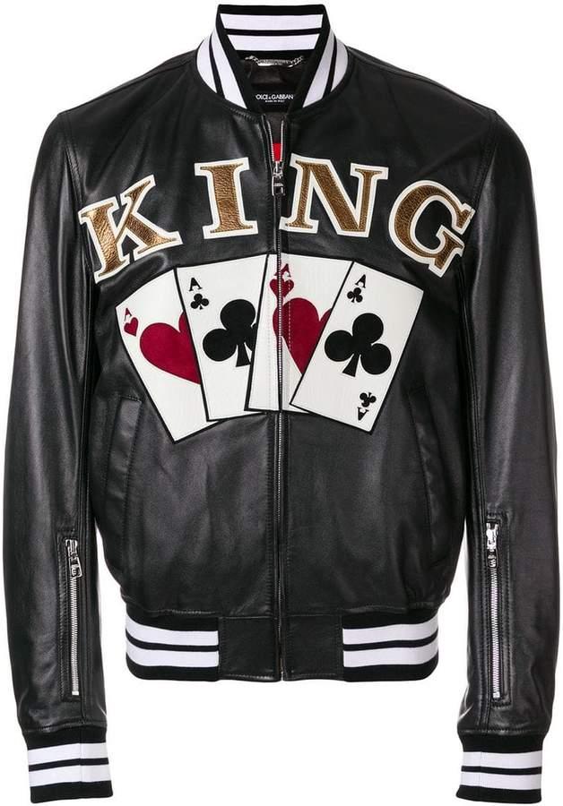 Dolce & Gabbana King playing cards bomber jacket