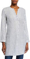 Neiman Marcus Long-Sleeve High-Low Stripe Linen Tunic
