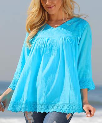 Ananda's Collection Women's Tunics turquise - Turquoise Peasant Tunic - Women