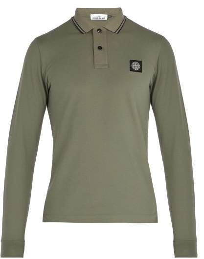 Stone Island - Long Sleeved Stretch Cotton Piqué Polo Shirt - Mens - Khaki