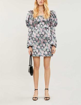 Olivia Rose The Label Ophelia puffed-sleeve floral-print satin-crepe mini dress