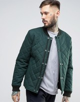 Asos Quilted Bomber Jacket With Double Fastening In Khaki