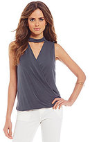 Gianni Bini Alice Bar Neck Sleeveless Wrap Top