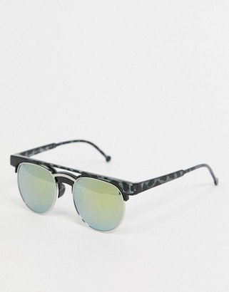 SVNX aviator sunglasses in tortoise shell with mirror lens