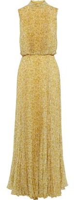 Mikael Aghal Pleated Floral-print Crinkled-chiffon Gown