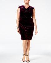 Jessica Howard Plus Size Velvet Cowl-Neck Dress