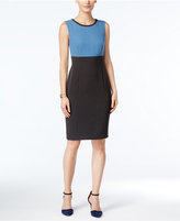 Kasper Crepe Colorblocked Sheath Dress