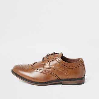 River Island Boys brown embossed lace-up brogues