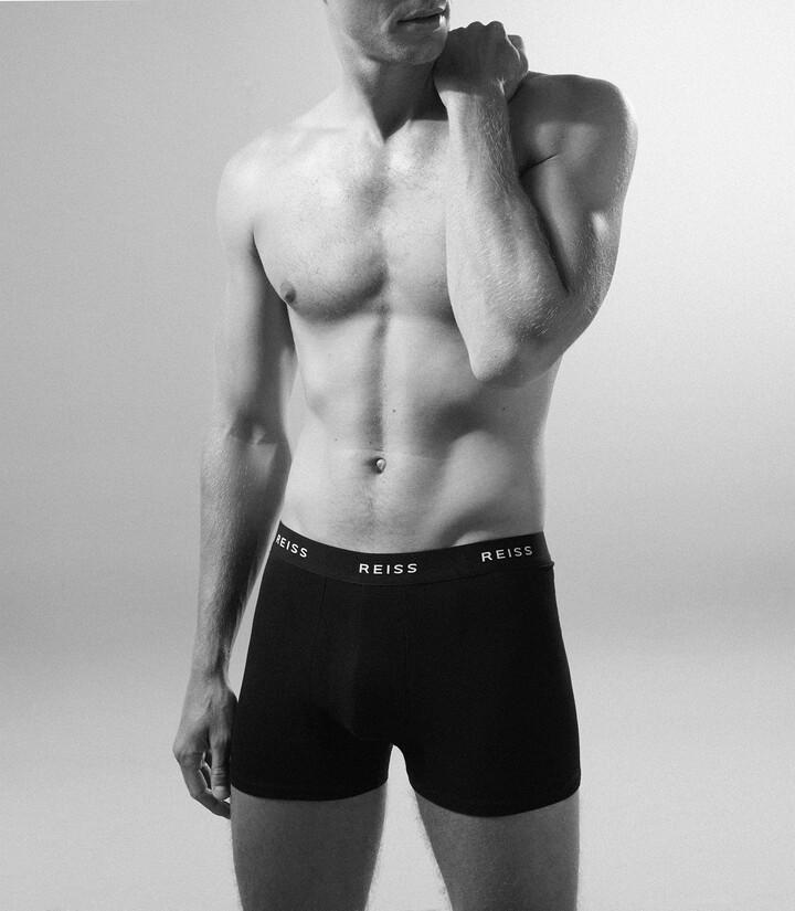 Reiss Heller - Three Pack Organic Cotton Boxers in Black