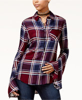 Polly & Esther Juniors' Bell-Sleeve Plaid Shirt