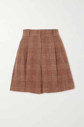 BLAZÉ MILANO Bella Donna Fell Pleated Checked Linen And Wool-blend Shorts - Brick