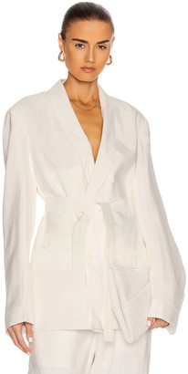 Lemaire Belted Double Breasted Jacket in Chalk | FWRD