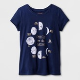 Cat & Jack Girls' Short Sleeve Moon Graphic T-Shirt Cat & Jack - Navy