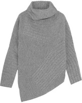 Stella McCartney Asymmetric Ribbed Wool Sweater - Light gray