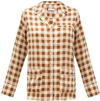 Ganni Gingham Silk-blend Satin Shirt - Brown Multi