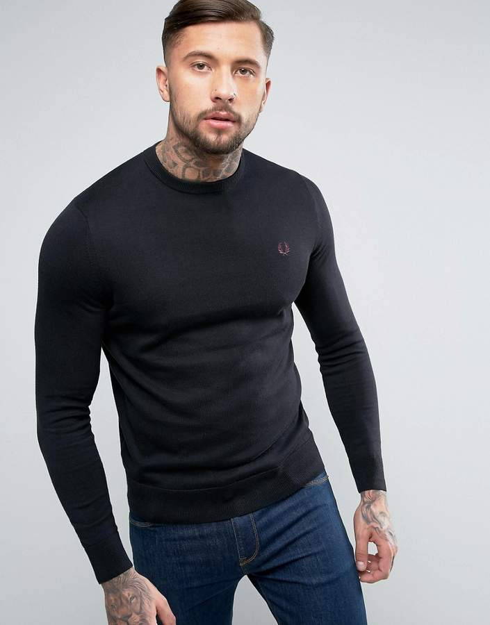 Fred Perry Crew Neck Cotton Jumper In Black