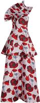 Osman Lua poppy-brocade ruffled-shoulder gown