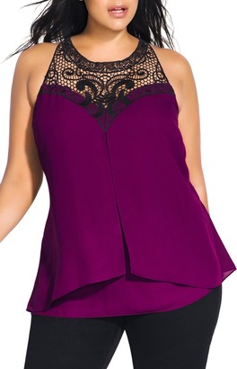 City Chic Layered Motif Lace Detail Tiered Top