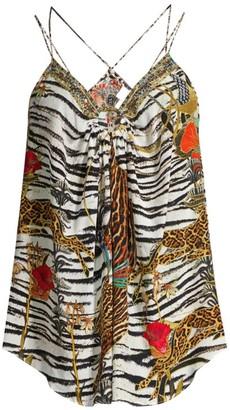 Camilla Cosmic Conflict Zebra-Print Silk Tankini Top