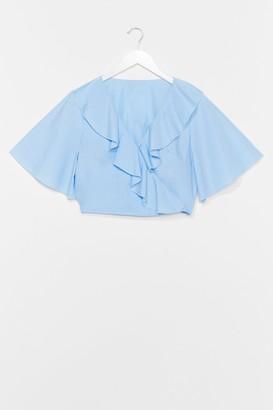 Nasty Gal Womens West Coast Ruffle Wrap Blouse - Blue - 10