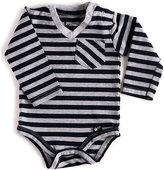 Black & Gray Stripe Long-Sleeve V-Neck Bodysuit - Infant