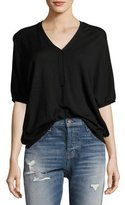 ATM Anthony Thomas Melillo Batwing Henley Sweater Top, Black